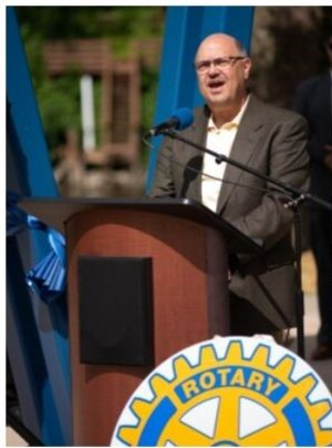 Past President Tim Walling at the Ribbon-cutting ceremony -- Rotarians Lead the Way!